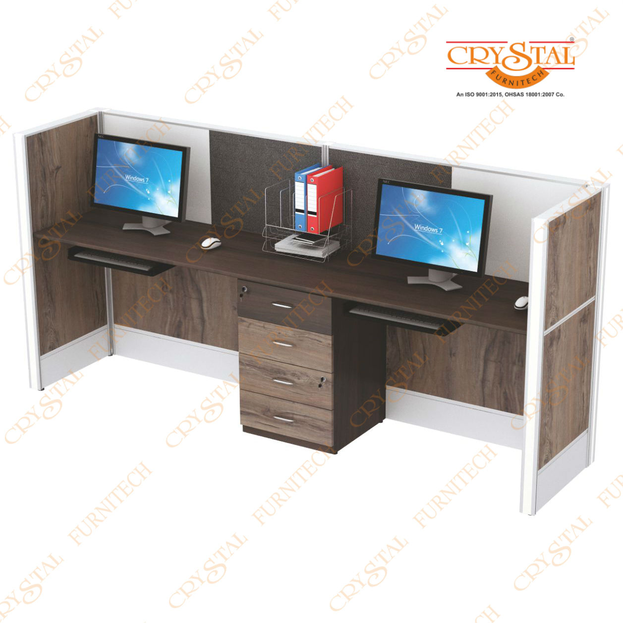 Aluminium Work Station With 4 Drawer Pedestal